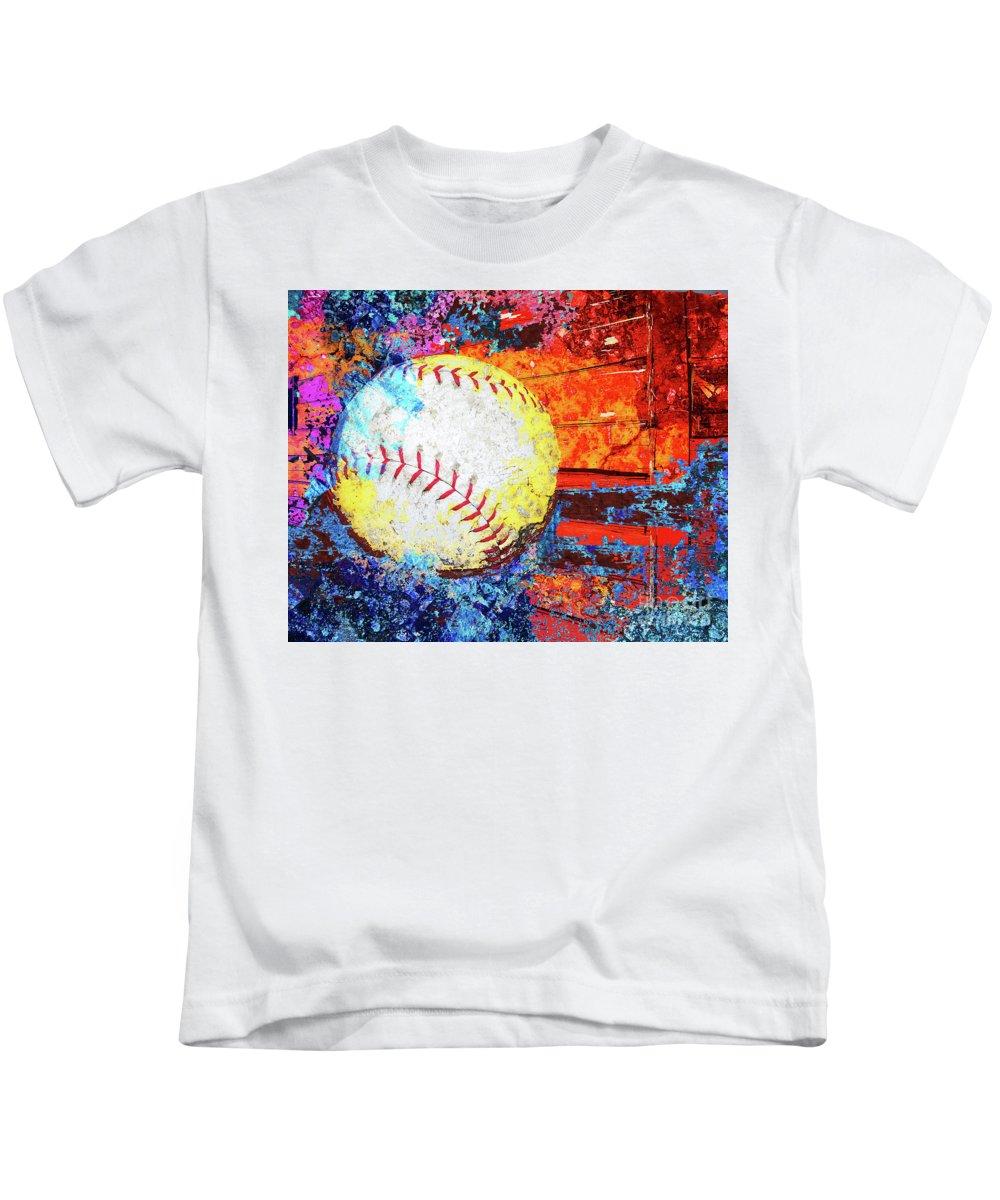 Baseball Kids T-Shirt featuring the digital art Baseball Art Version 6 by Takumi Park