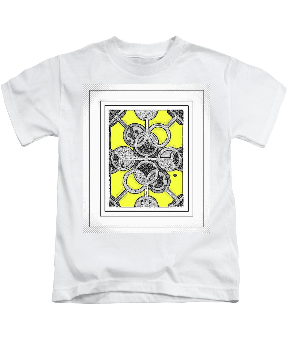 Graphic Design Kids T-Shirt featuring the digital art Bases Are Loaded Yellow by Art Speakman