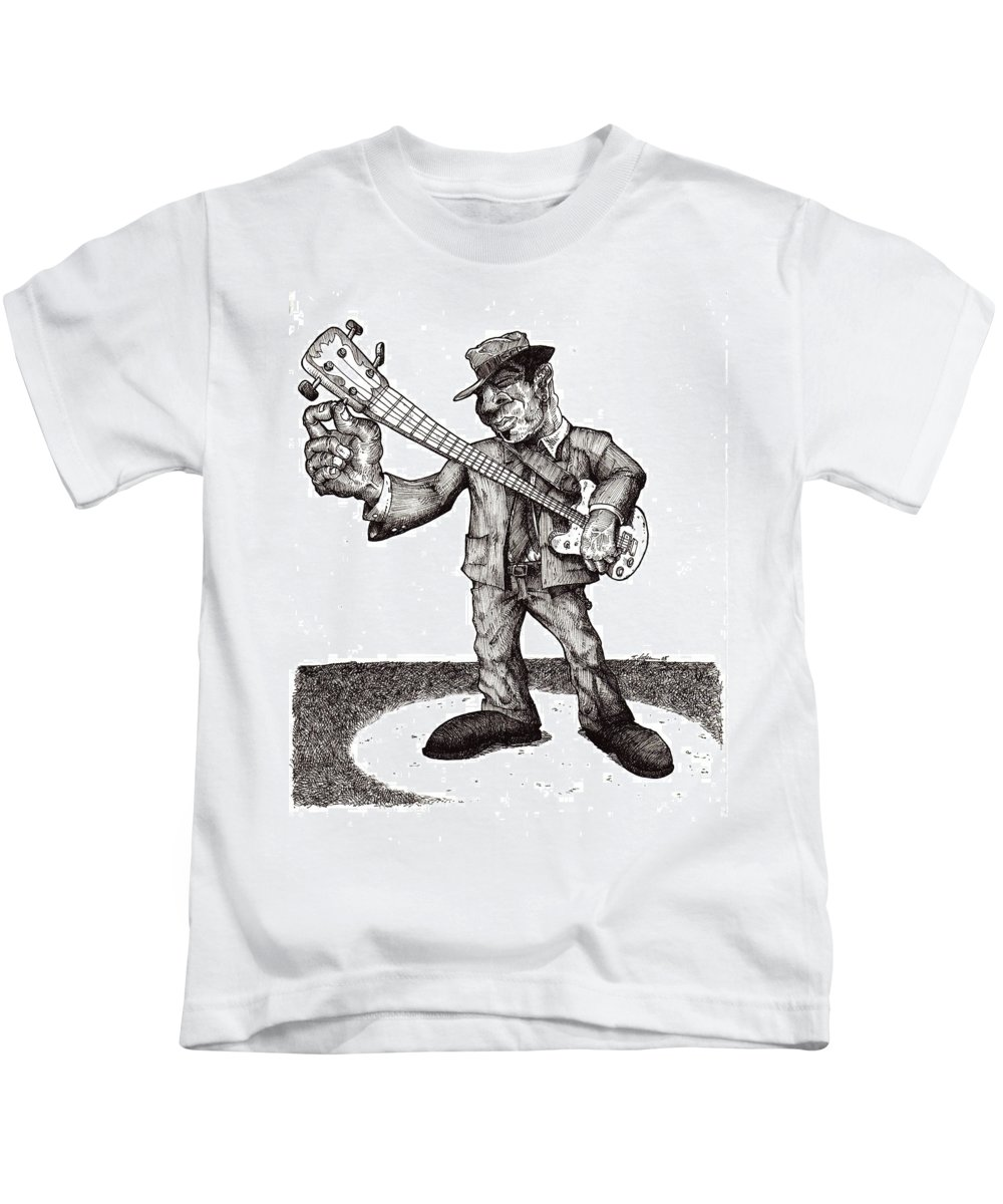 Blues Kids T-Shirt featuring the drawing Bass by Tobey Anderson