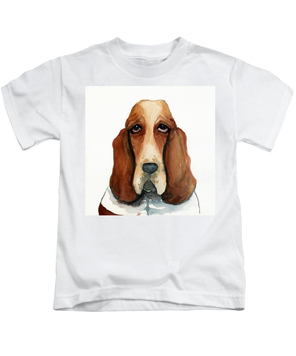 Basset Hound Kids T-Shirt featuring the painting Basset Hound by Leanne Wilkes