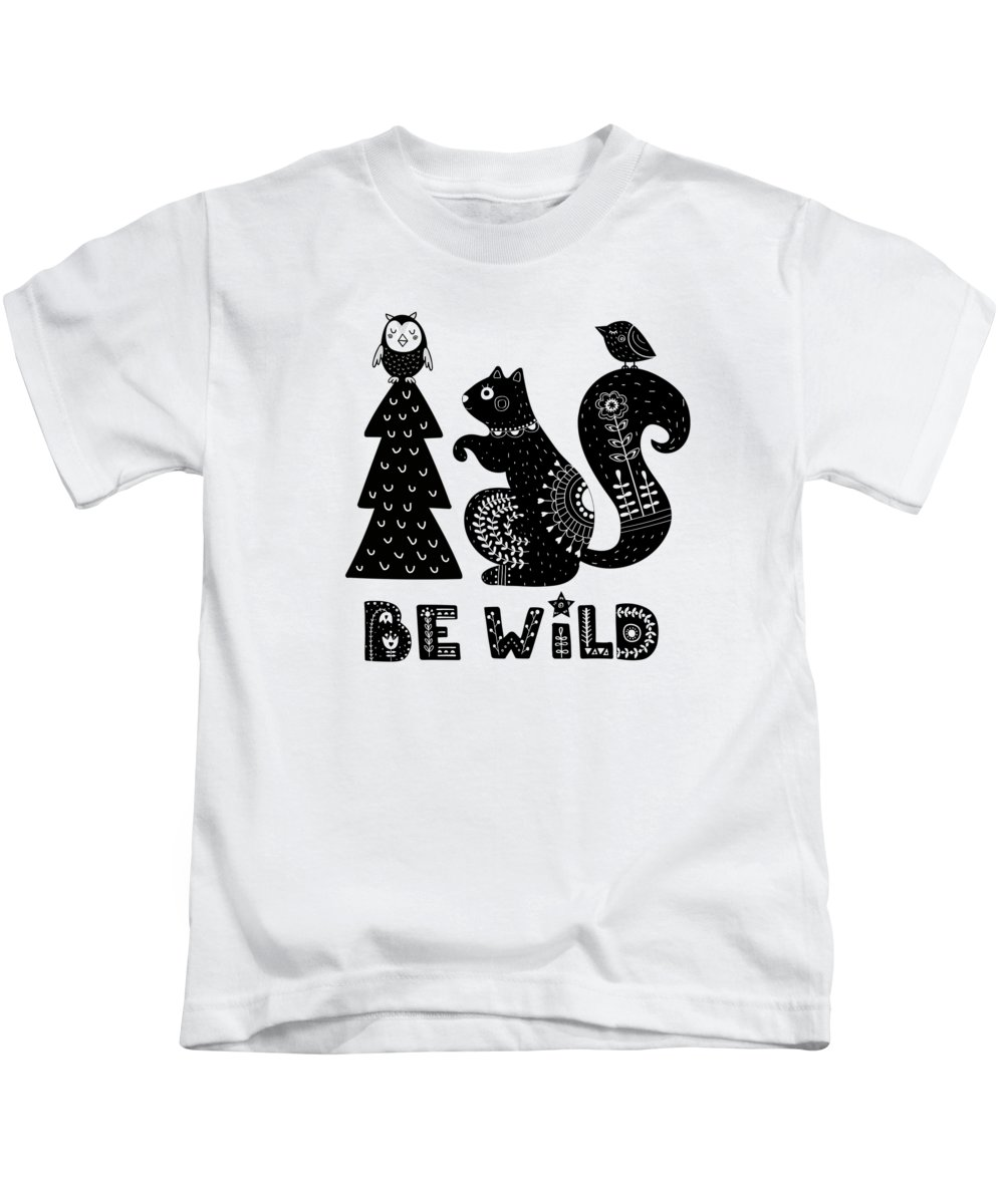 Free Kids T-Shirt featuring the painting Be Wild Cute Owl And Squirrel In Scandinavian Style by Little Bunny Sunshine