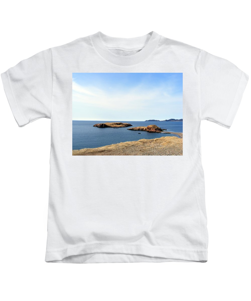 Beach Kids T-Shirt featuring the photograph Beach And Rocky Shoreline by Barbara Griffin