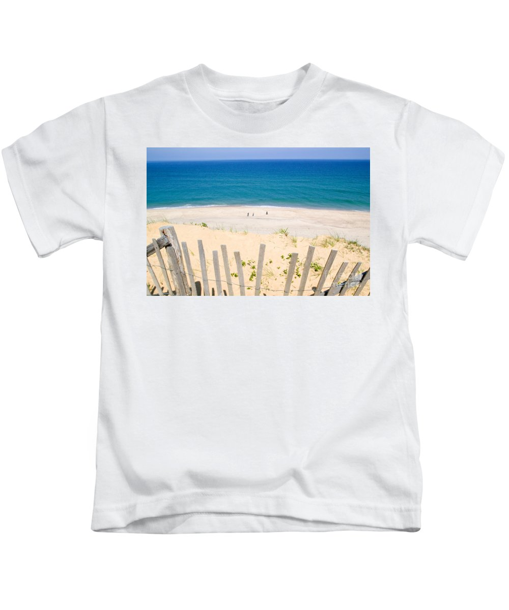 Beach Fence Kids T-Shirt featuring the photograph beach fence and ocean Cape Cod by Matt Suess