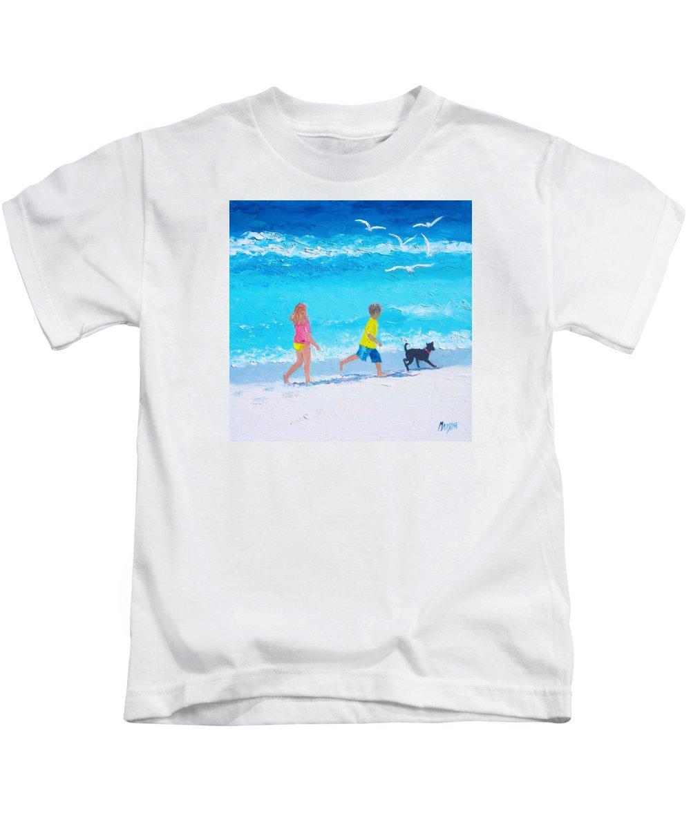 Beach Kids T-Shirt featuring the painting Beach Fun by Jan Matson