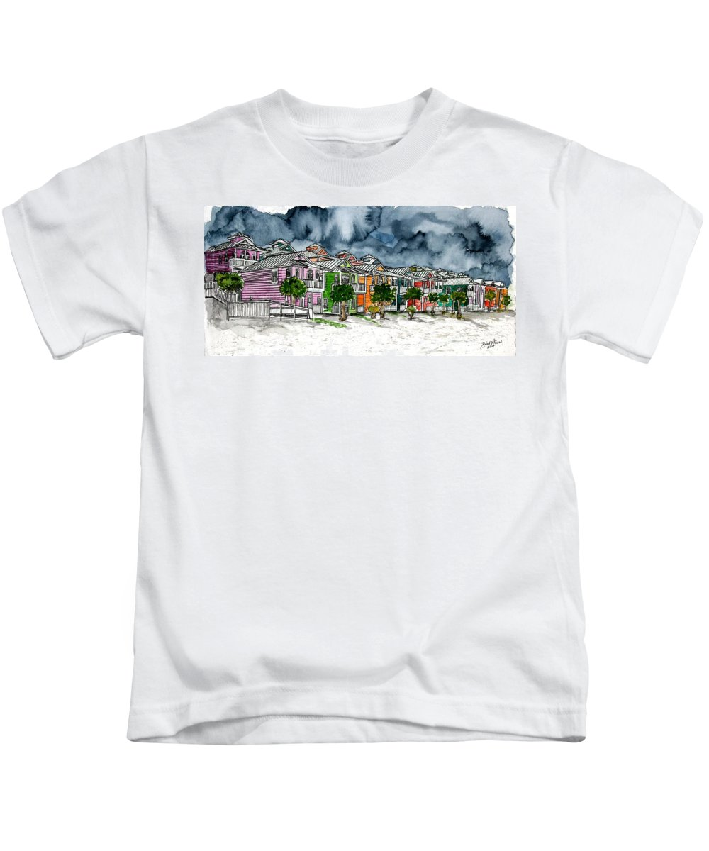 Watercolor Kids T-Shirt featuring the painting Beach Houses Watercolor Painting by Derek Mccrea