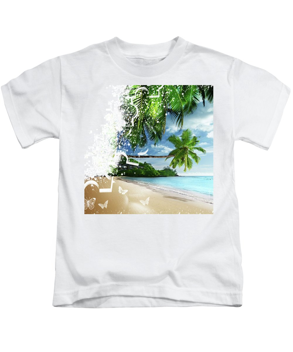 Beach Kids T-Shirt featuring the digital art Beach Puzzle by Ivan Angelovski