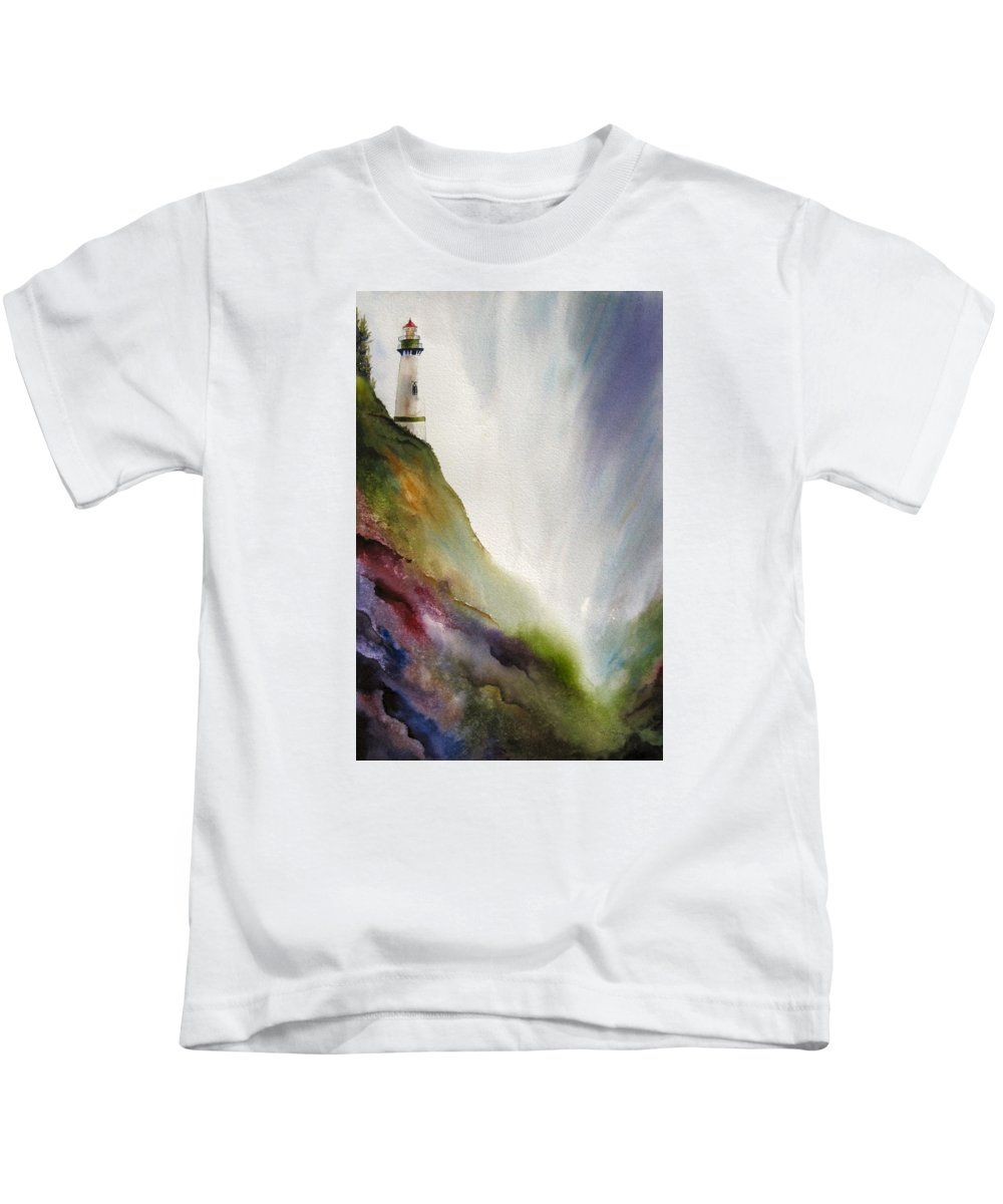 Lighthouse Kids T-Shirt featuring the painting Beacon by Karen Stark