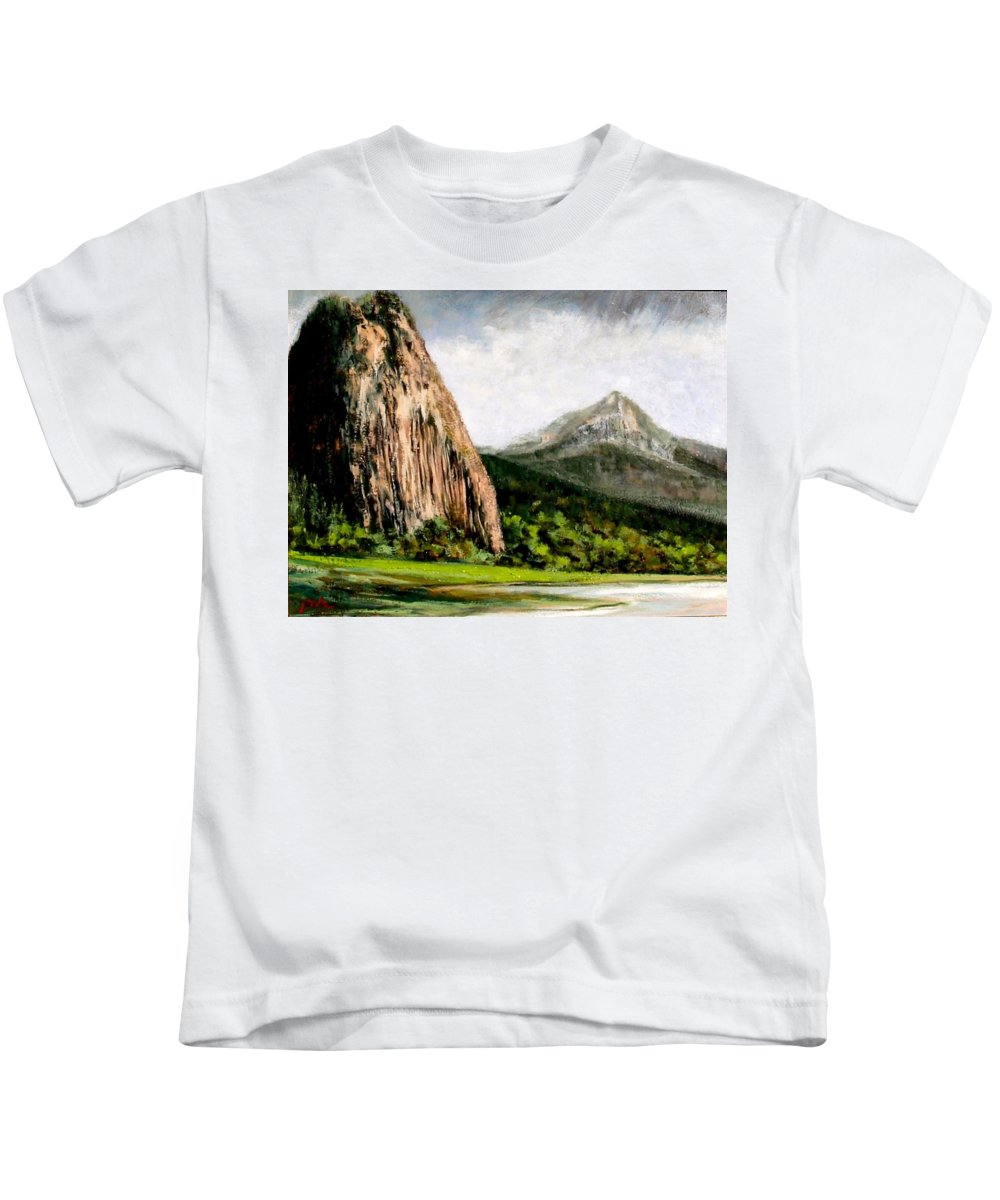 Landscape Kids T-Shirt featuring the painting Beacon Rock Washington by Jim Gola