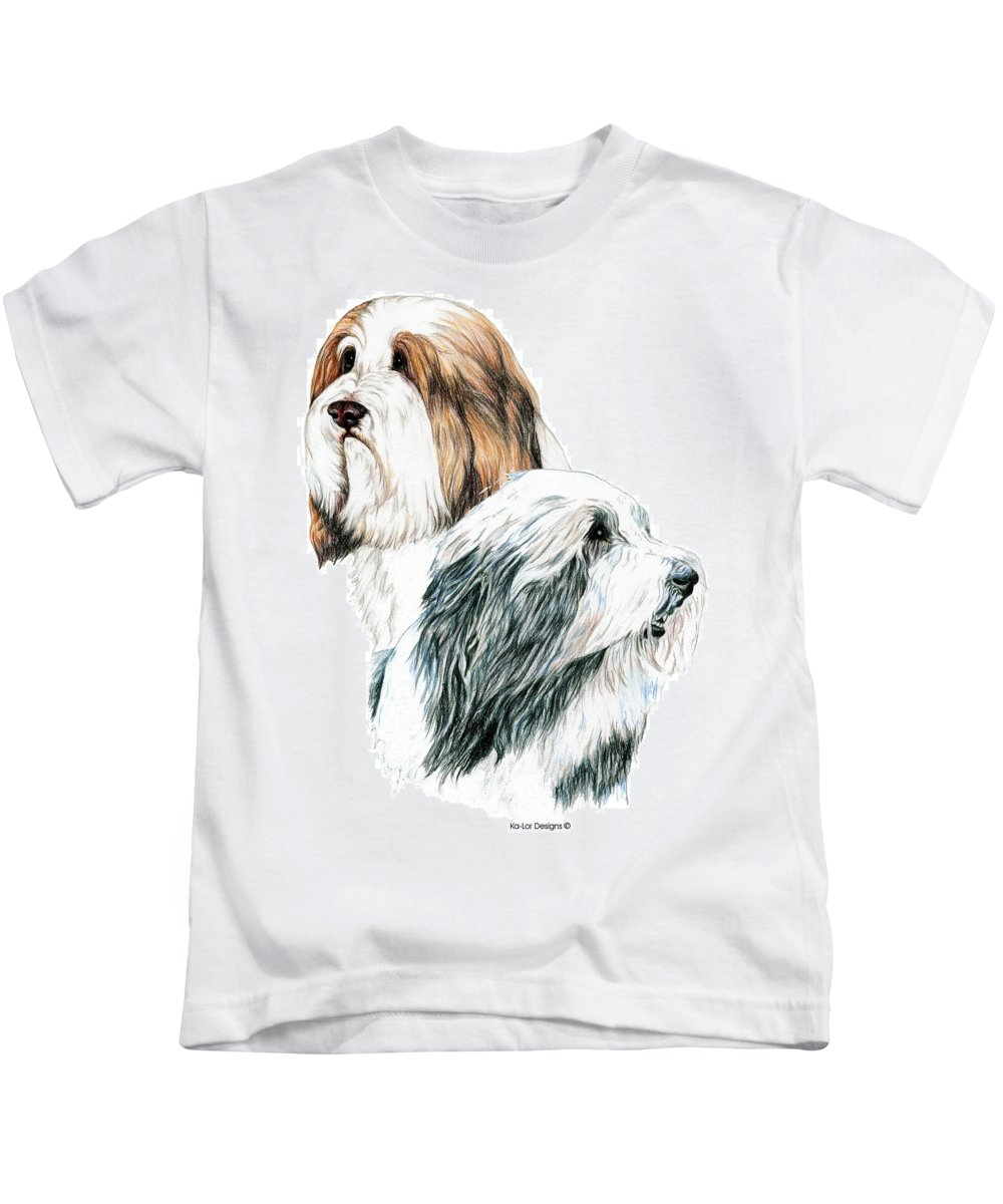Bearded Collies Kids T-Shirt featuring the drawing Bearded Collies by Kathleen Sepulveda