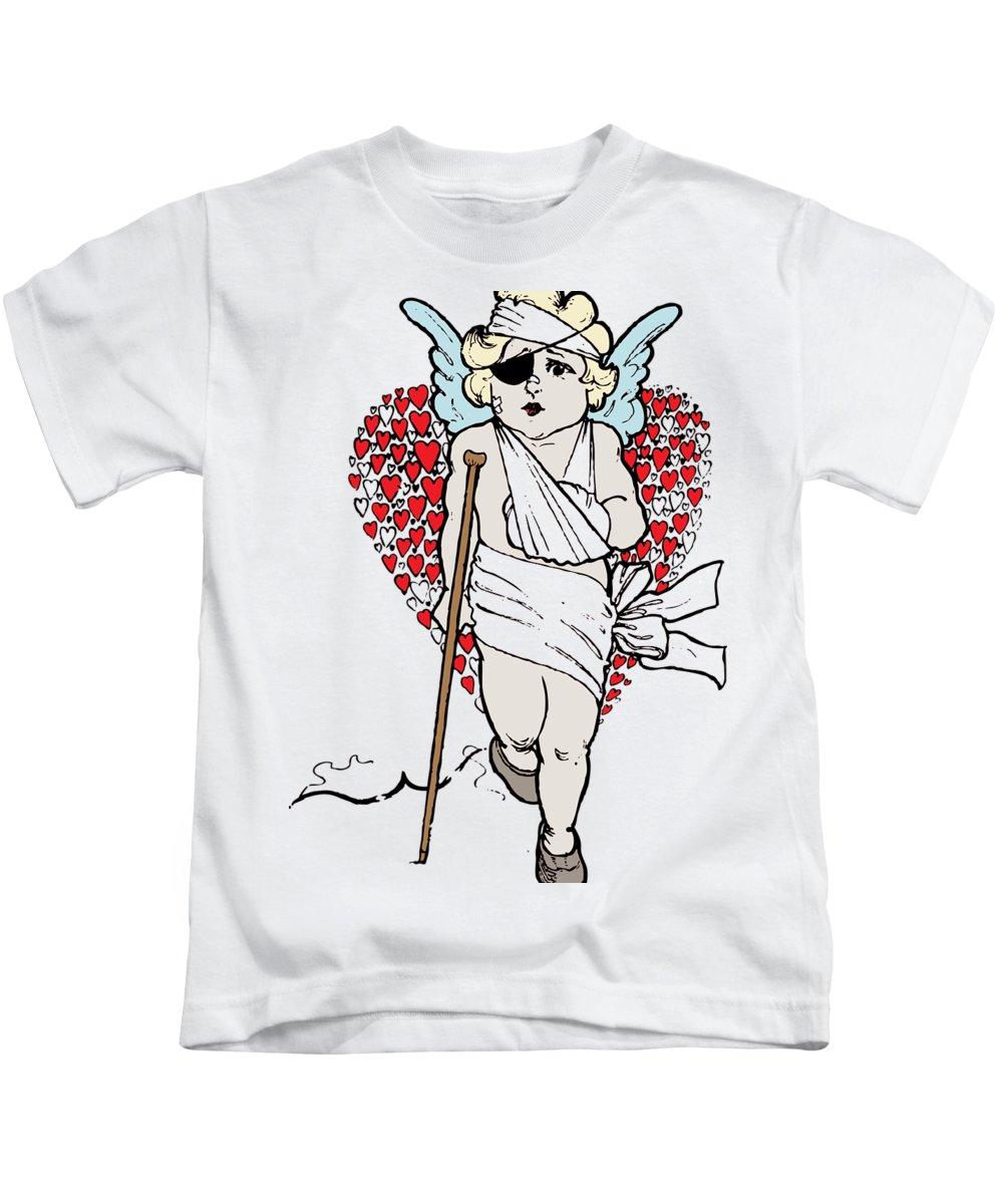 Beaten Up Kids T-Shirt featuring the digital art Beaten Up Cupid Art - Funny Love Broken Heart Art by Wall Art Prints