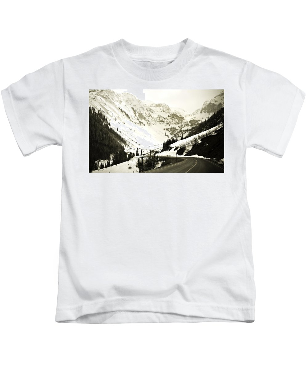 Mountains Kids T-Shirt featuring the photograph Beautiful Curving Drive Through The Mountains by Marilyn Hunt