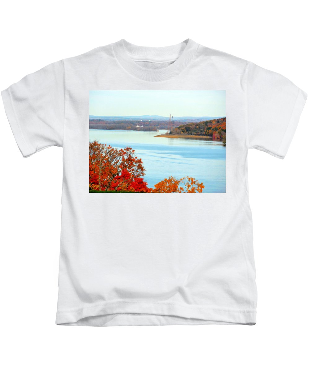 Beautiful View Of The Hudson River Kids T-Shirt featuring the painting Beautiful View Of The Hudson River 1 by Jeelan Clark