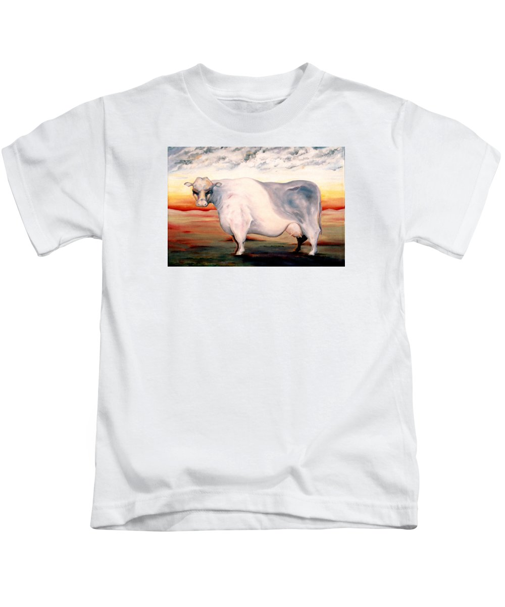Cow Kids T-Shirt featuring the painting Beef Holocaust II by Mark Cawood