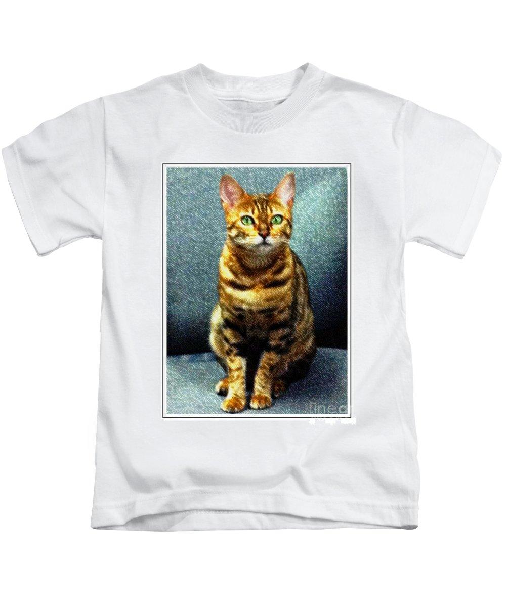 Bengal Cat Digital Oil Pastel Kids T-Shirt featuring the photograph Bengal Cat Digital Oil Pastel by Barbara Griffin