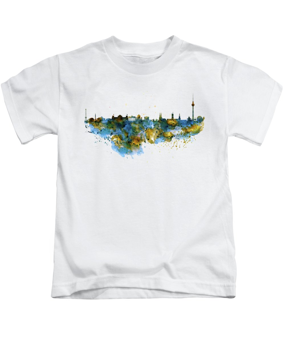 Berlin Kids T-Shirt featuring the painting Berlin Watercolor Skyline by Marian Voicu