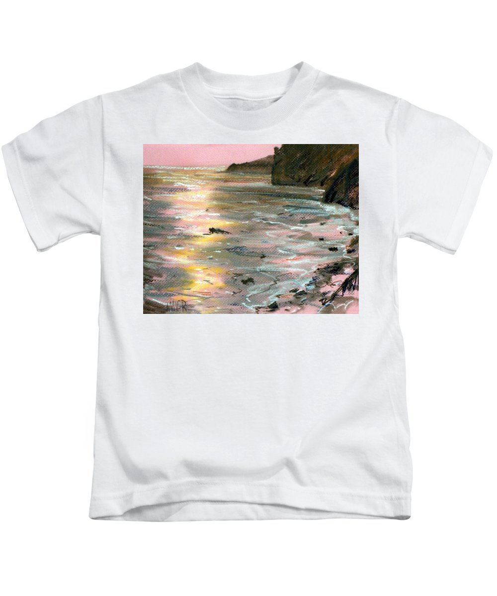 Big Sur Kids T-Shirt featuring the painting Big Sir Sunset by Donald Maier