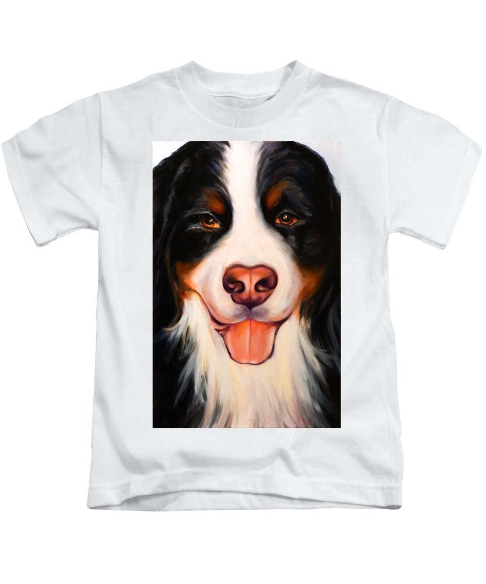 Dog Kids T-Shirt featuring the painting Big Willie by Shannon Grissom