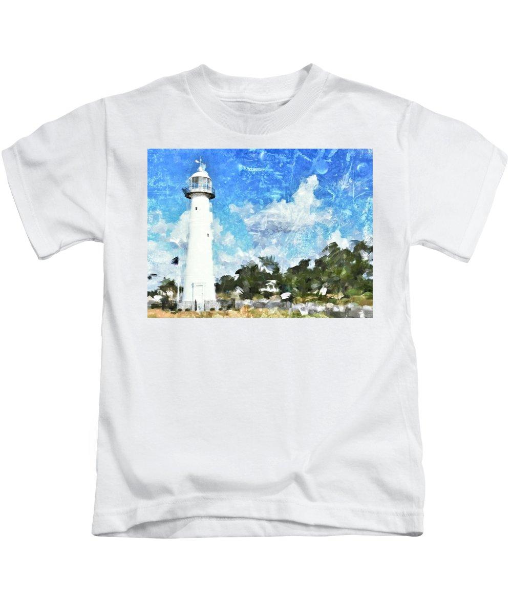 Lighthouse Kids T-Shirt featuring the photograph Biloxi Lighthouse by Scott Crump