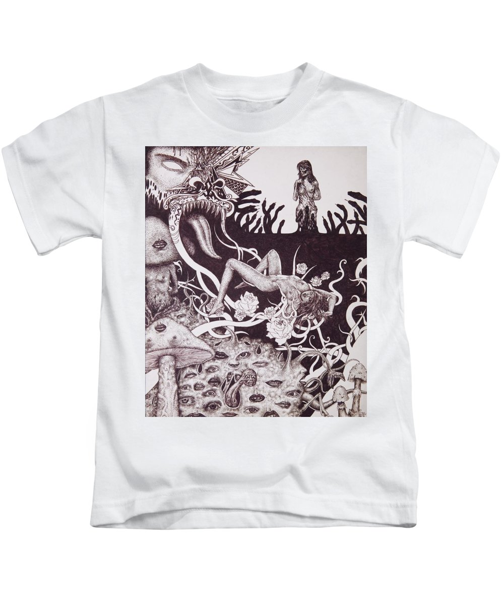 Drawing Kids T-Shirt featuring the drawing Binah Qlippoth by Dan Moran