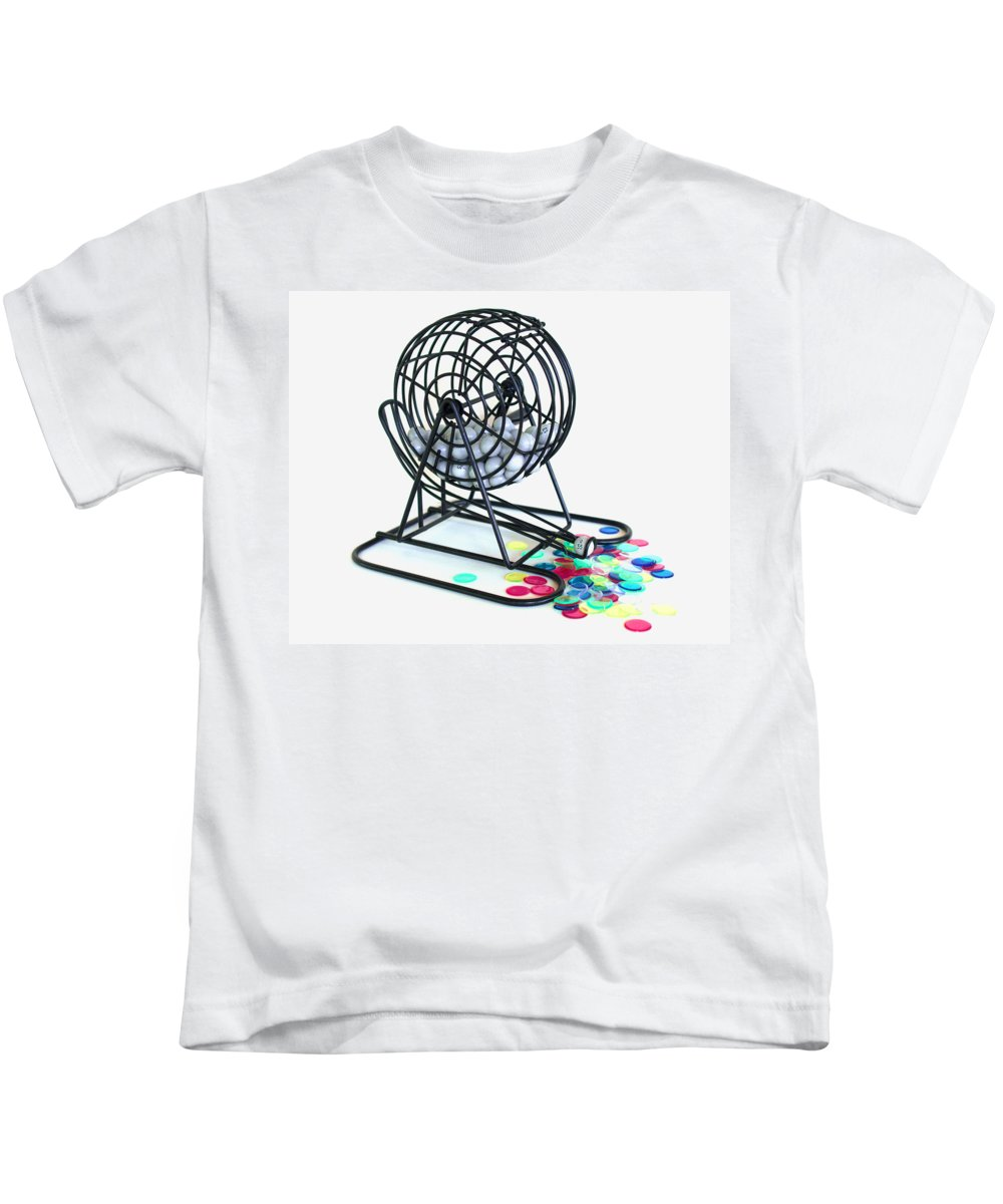 Bingo; Ball; Keno; Balls; Random; Cage; Rotate; Rotating; Drawn; Draw; Caller; Cheat; Cheating; Card Kids T-Shirt featuring the photograph Bingo Cage by Allan Hughes