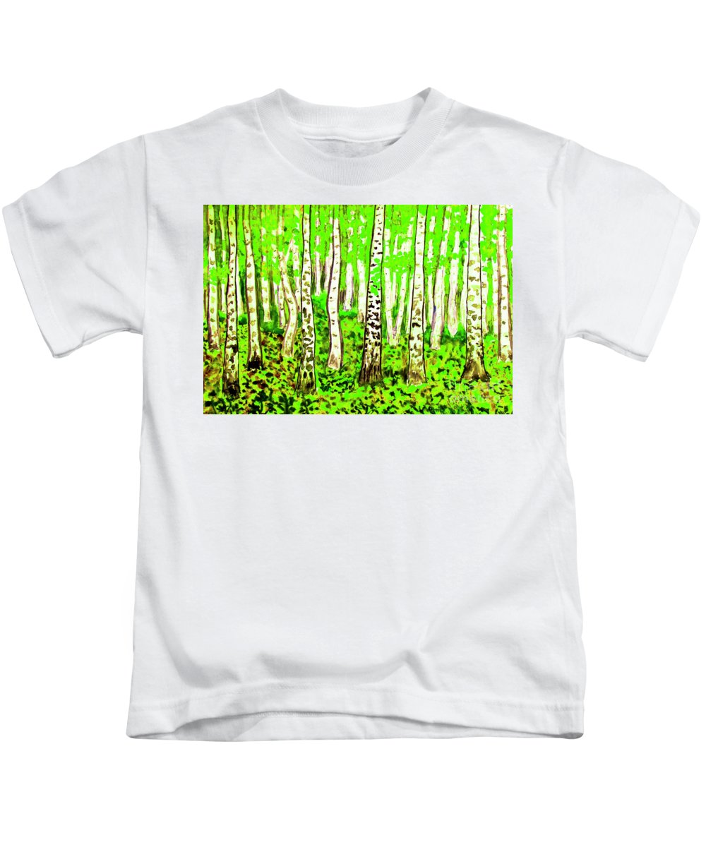 Art Kids T-Shirt featuring the painting Birch Forest, Painting by Irina Afonskaya