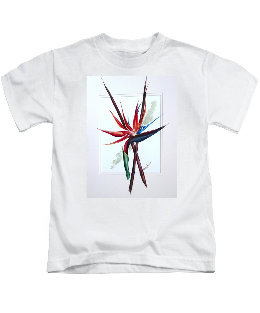 Floral Tropical Caribbean Flower Kids T-Shirt featuring the painting Bird Of Paradise Lily by Karin Dawn Kelshall- Best