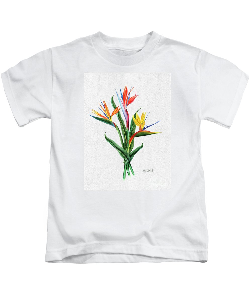 Bird Of Paradise Kids T-Shirt featuring the painting Bird Of Paradise by Peter Piatt