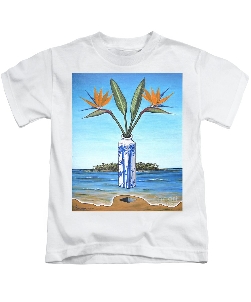 Bird Of Paradise Kids T-Shirt featuring the painting Birds Over Paradise Flowers by Jerome Stumphauzer