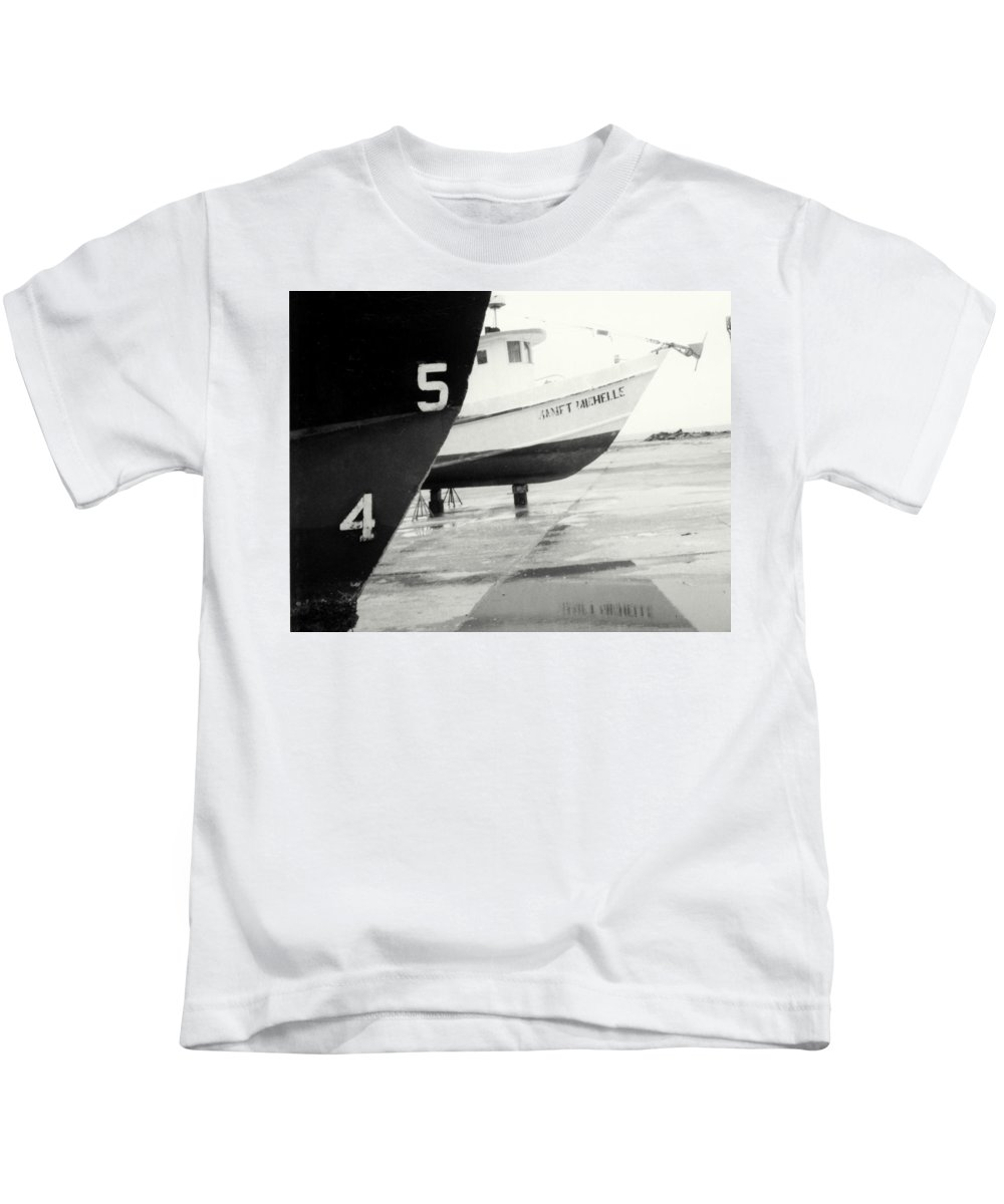 Boat Reflection Black And White Kids T-Shirt featuring the photograph Black And White Boat Reflection by Cindy New