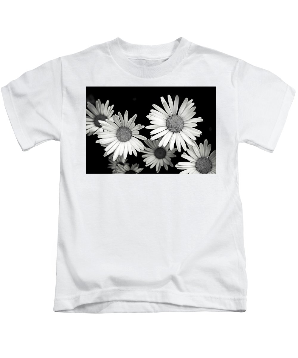 Flower Kids T-Shirt featuring the photograph Black And White Daisy 2 by Alisha Jurgens