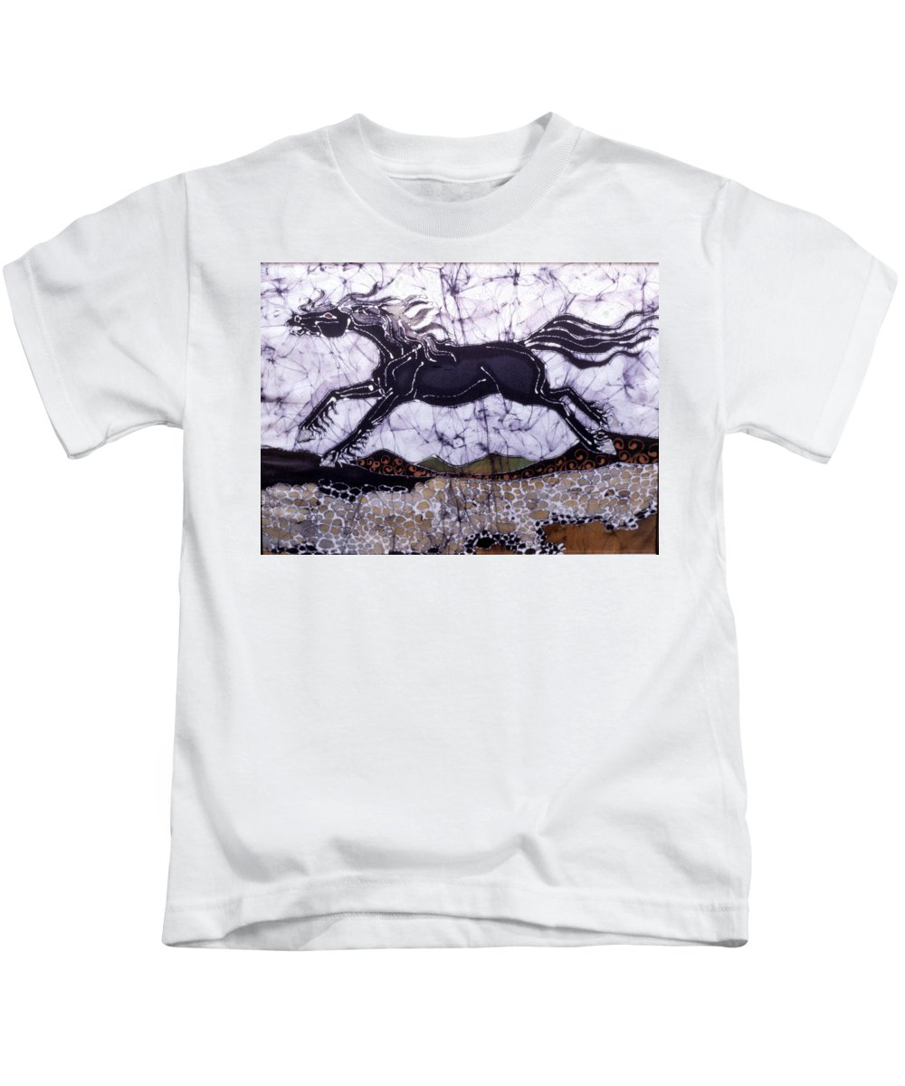 Stallion Kids T-Shirt featuring the tapestry - textile Black Stallion Gallops Over Stones by Carol Law Conklin