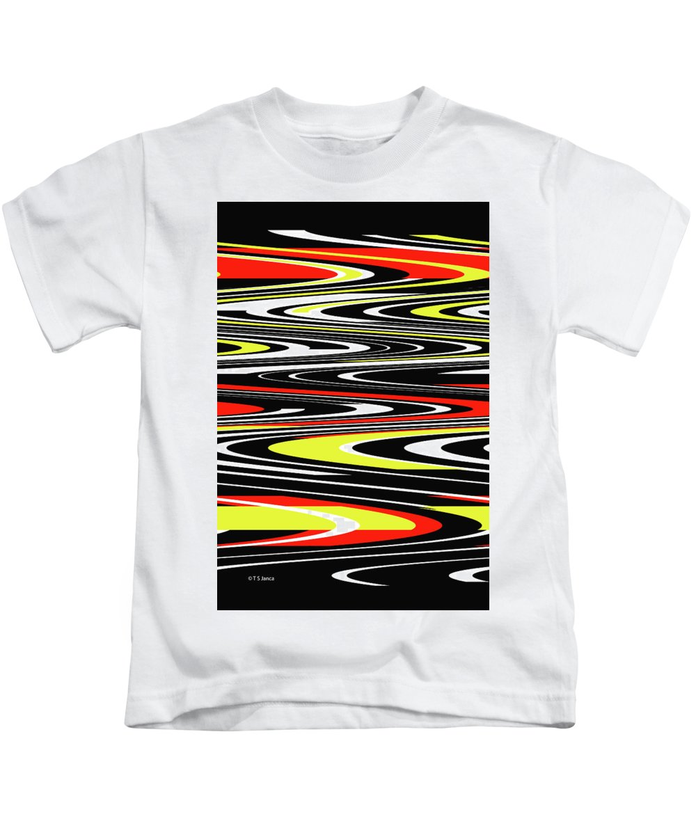 Black Yellow Red White Abstract Kids T-Shirt featuring the photograph Black Yellow Red White Abstract by Tom Janca