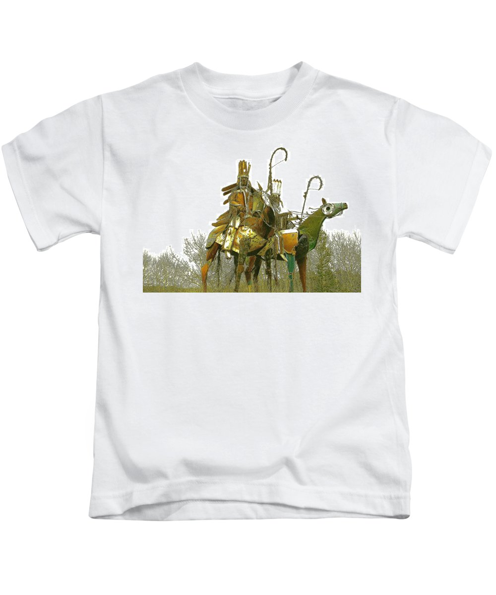Native American Kids T-Shirt featuring the photograph Blackfeet Wariors by Nelson Strong