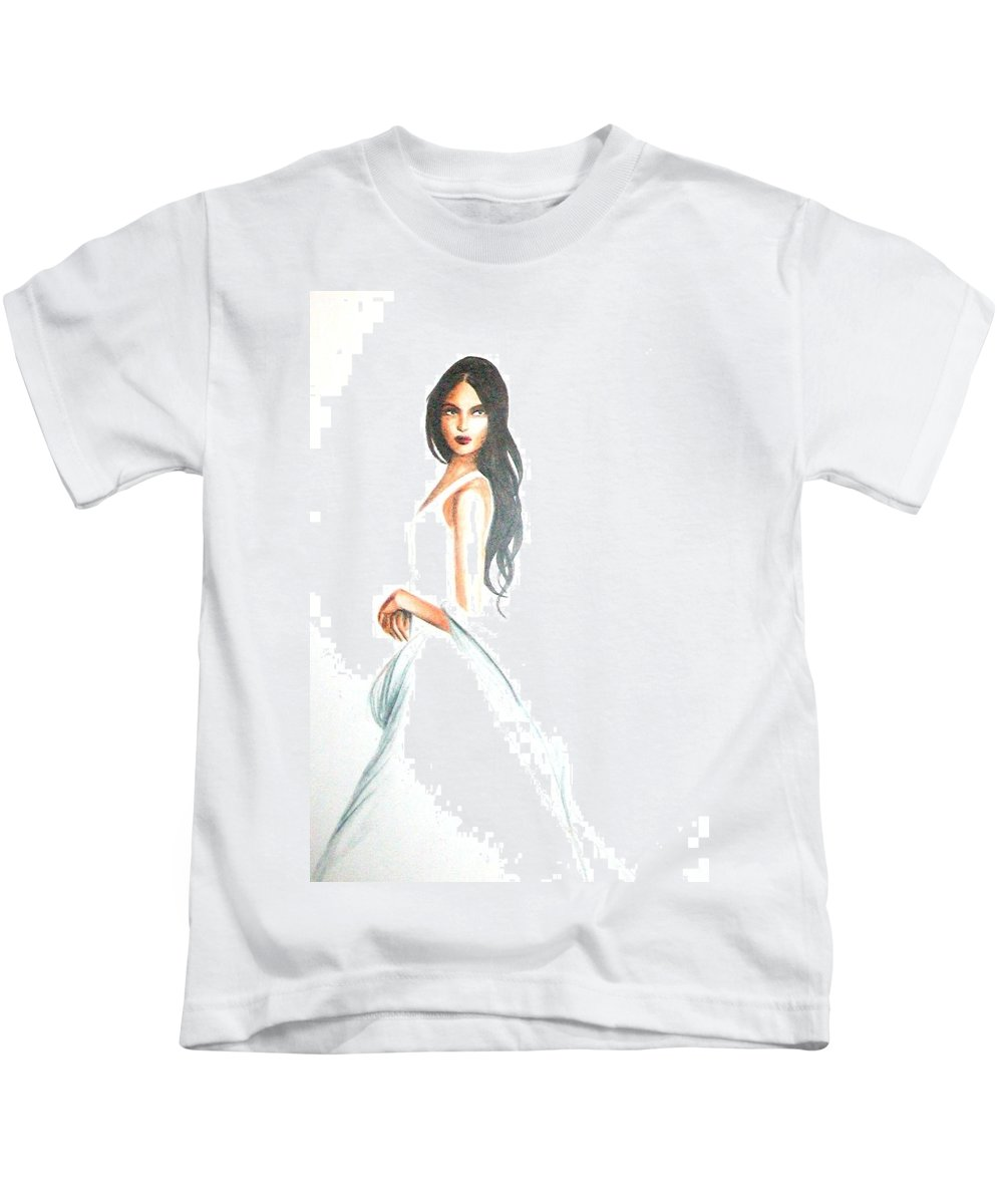 Woman Kids T-Shirt featuring the drawing Blanca by MB Dallocchio