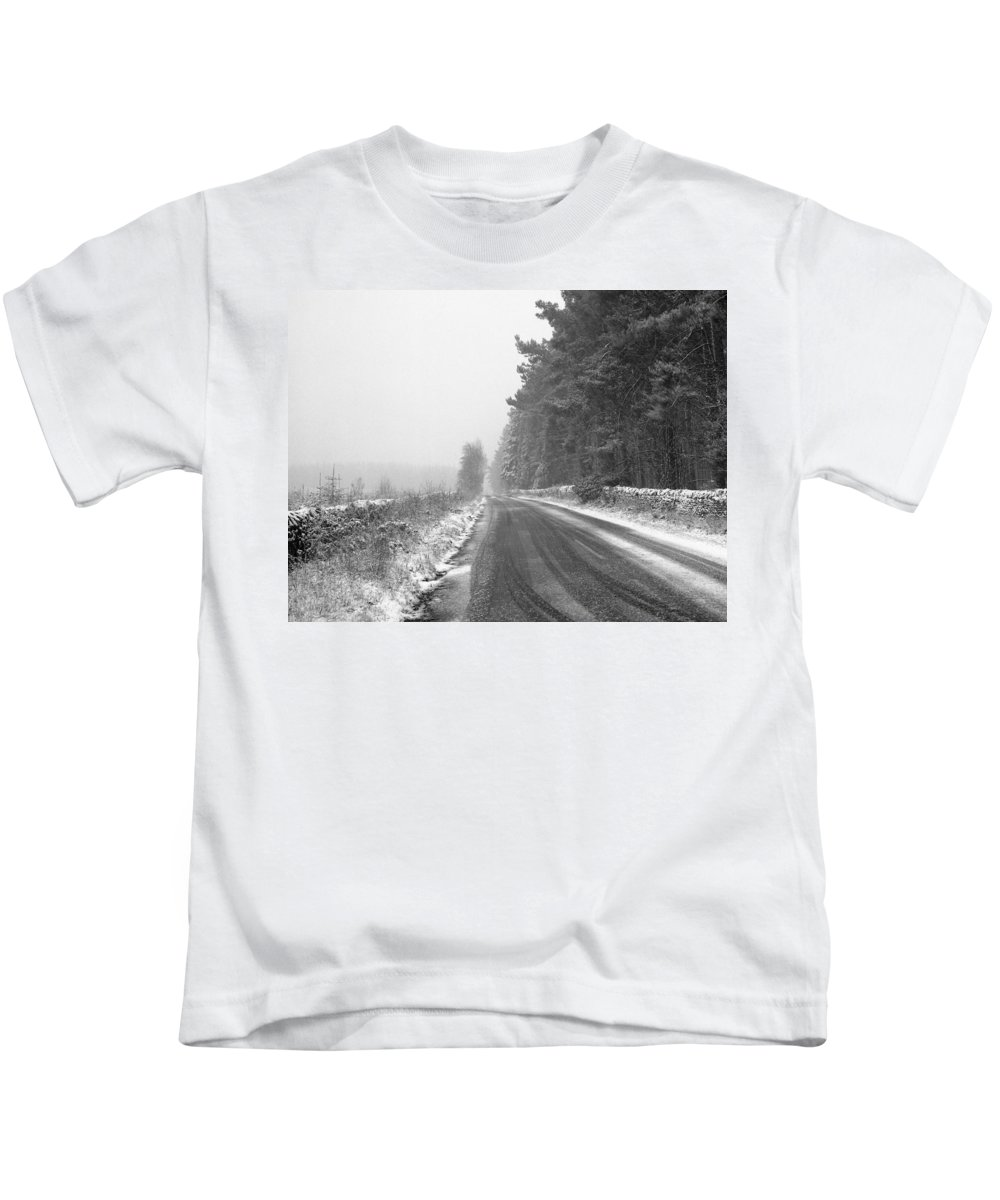 Kids T-Shirt featuring the photograph Blanchland Road In Winter, Slaley Woods by Iain Duncan