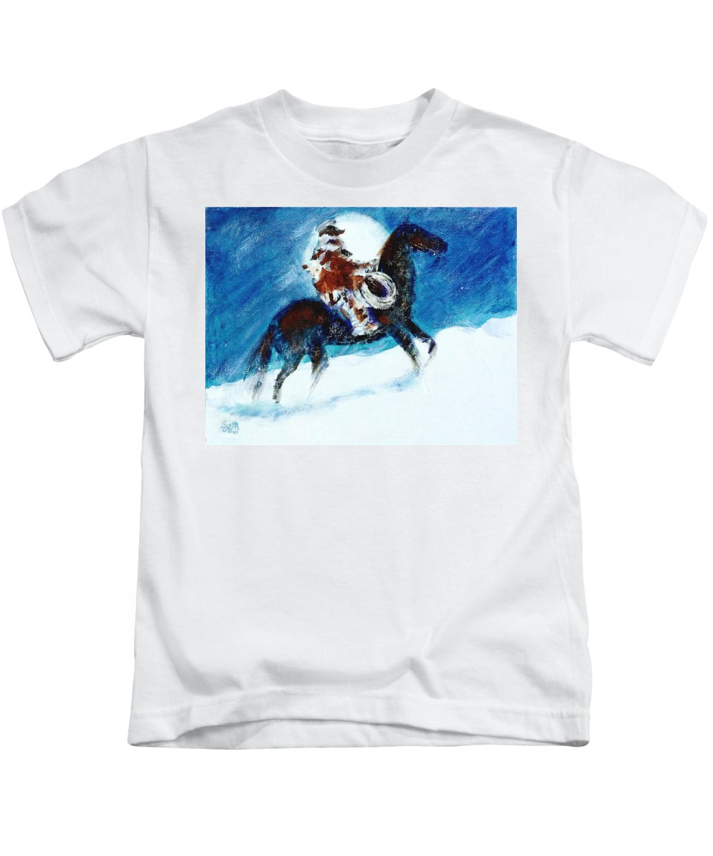 Blizzard Moon Kids T-Shirt featuring the painting Blizzard Moon-the Last Stray by Seth Weaver