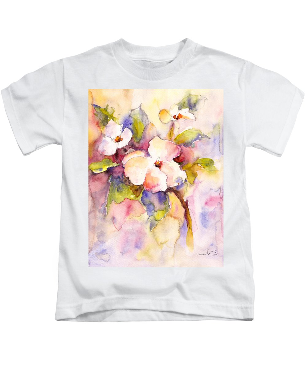 Floral Kids T-Shirt featuring the painting Blossoms by Miki De Goodaboom