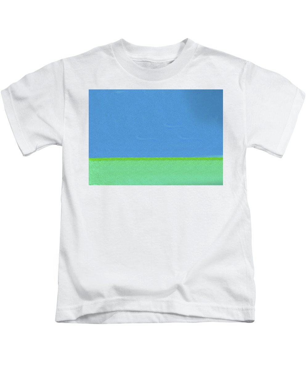 Abstract Kids T-Shirt featuring the painting Blue And Green Split By Nixo by Supreme Inc