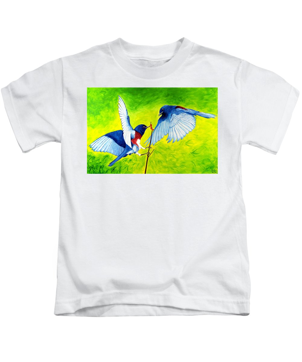 Bird Kids T-Shirt featuring the painting Blue Birds by Marilyn Hilliard