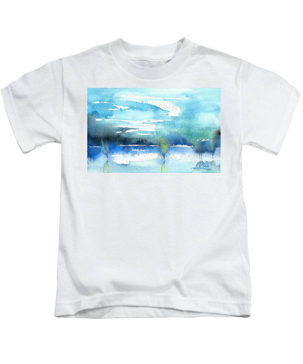 Impressionism Kids T-Shirt featuring the painting Blue Blue The World Is Blue by Miki De Goodaboom
