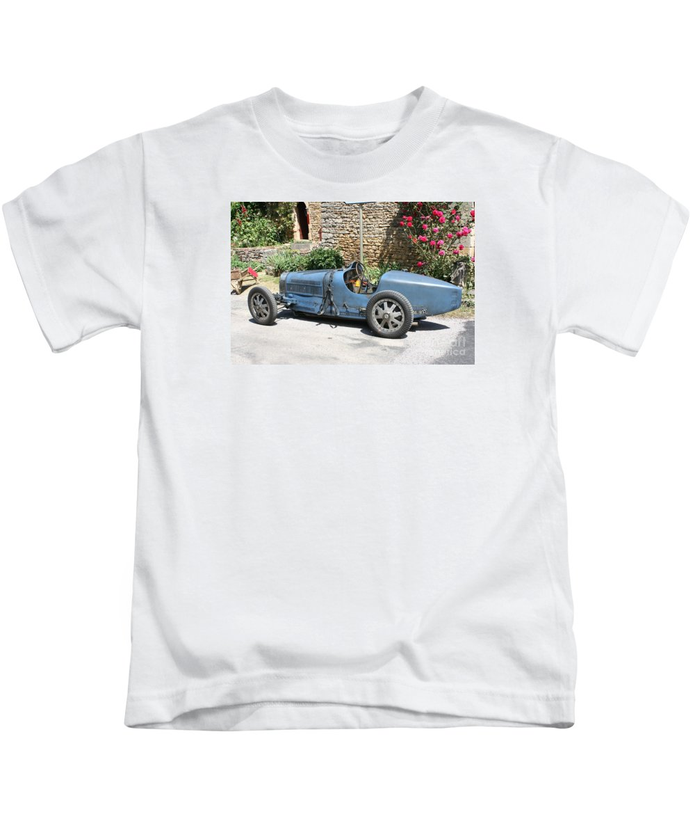 Oldtimer Kids T-Shirt featuring the photograph Blue Bugatti Oldtimer by Christiane Schulze Art And Photography