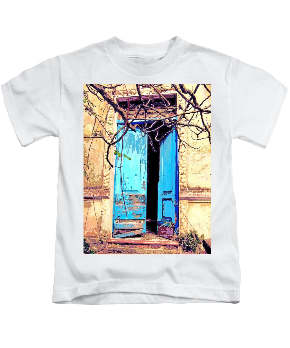Blue Doors Kids T-Shirt featuring the mixed media Blue Doors In Tuscany by Dominic Piperata