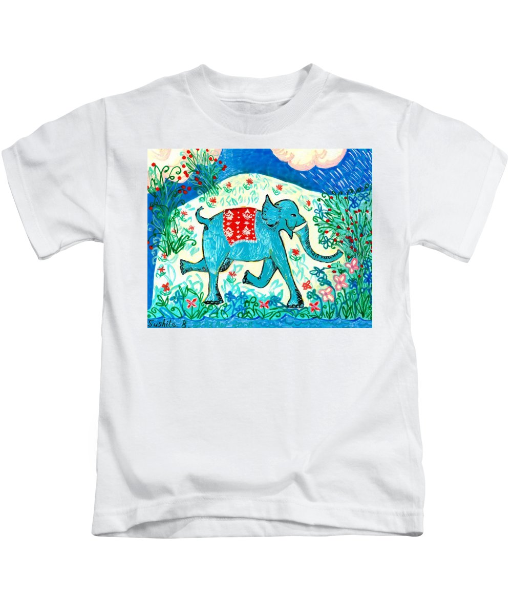 Sue Burgess Kids T-Shirt featuring the painting Blue Elephant Facing Right by Sushila Burgess