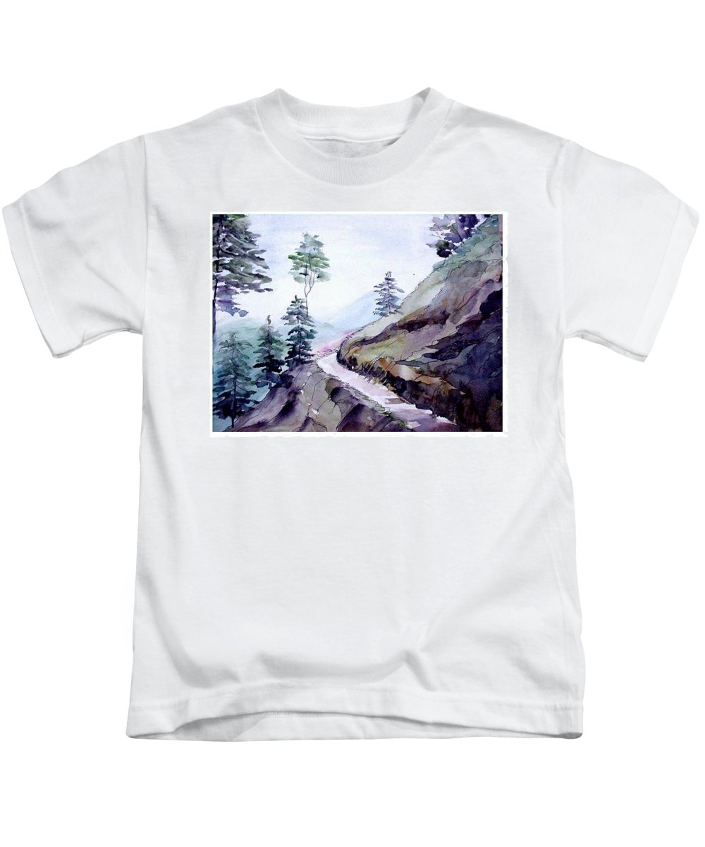 Landscape Kids T-Shirt featuring the painting Blue Hills by Anil Nene