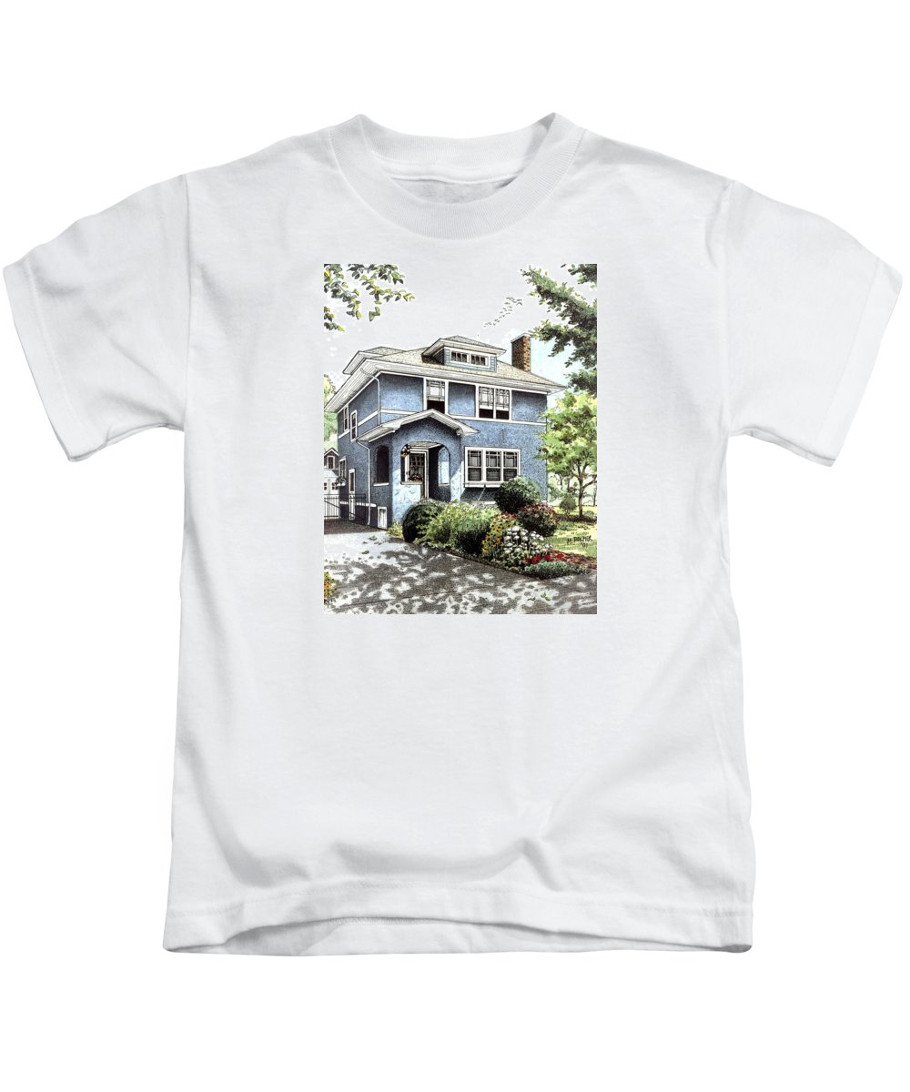 House Kids T-Shirt featuring the drawing Blue House by Mary Palmer