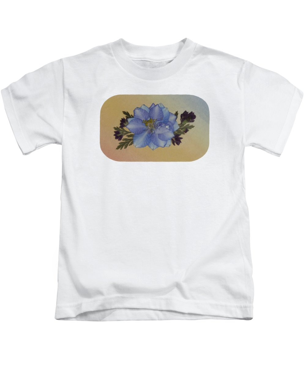Larkspur Pressed Flowers Floral Oregano Garden Greenery Kids T-Shirt featuring the photograph Blue Larkspur And Oregano Pressed Flower Arrangement by Em Witherspoon