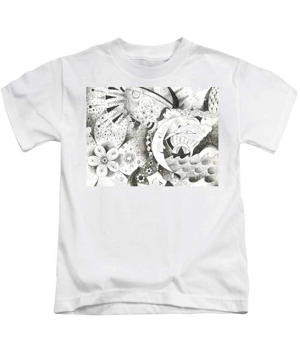 Surreal Kids T-Shirt featuring the drawing Blue Moons And Tidbits by Helena Tiainen