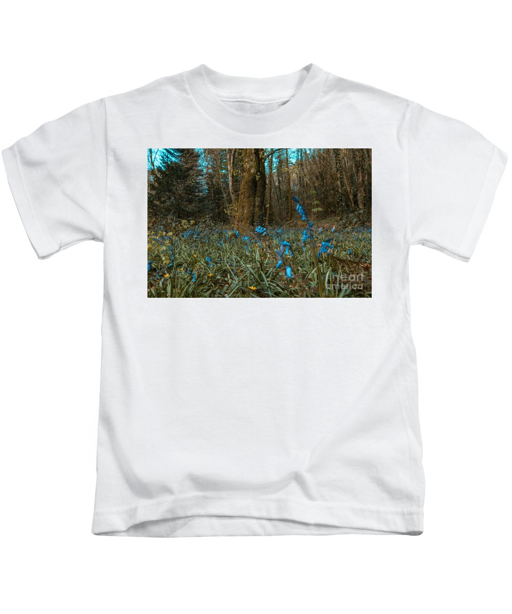 Bluebells Kids T-Shirt featuring the photograph Bluebells In Lismore Forest by Marc Daly