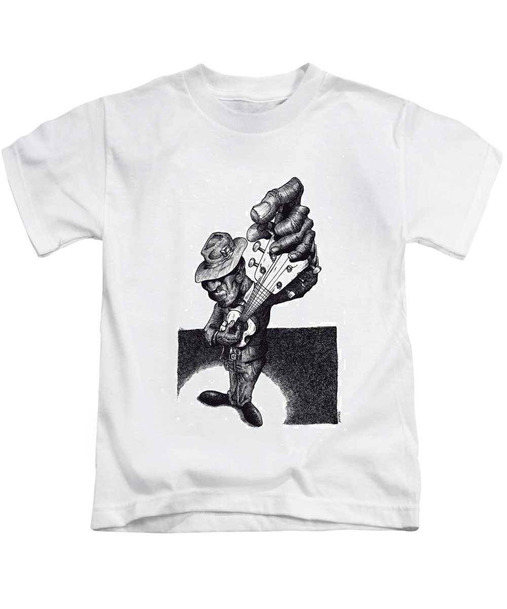Blues Kids T-Shirt featuring the drawing Blues Guitar by Tobey Anderson