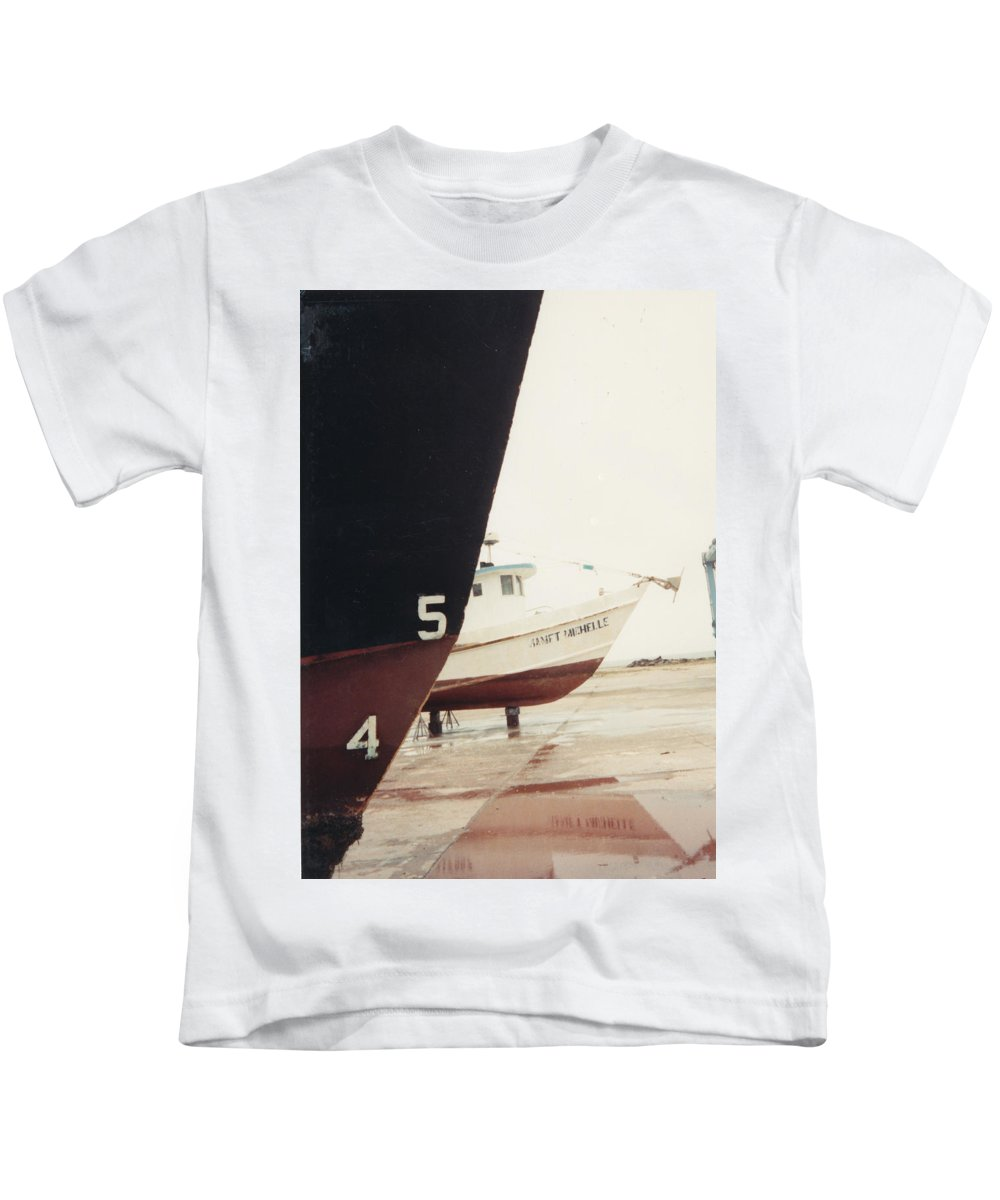 Boat Reflection Kids T-Shirt featuring the photograph Boat Reflection And Angles by Cindy New